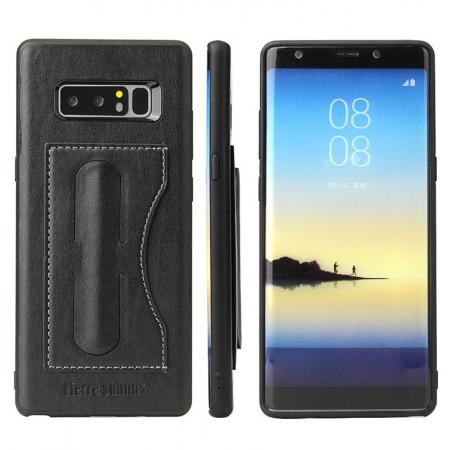 Luxury Genuine Leather Card Slot Back Case Kickstand for Samsung Galaxy Note 8 - Black