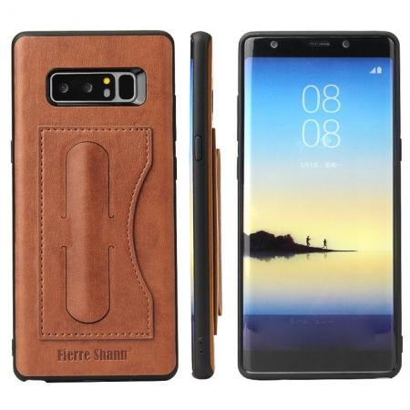 Luxury Genuine Leather Card Slot Back Case Kickstand for Samsung Galaxy Note 8 - Brown