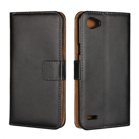 Luxury Genuine Leather Magnetic Flip Wallet Case Stand Cover For LG Q6 - Black