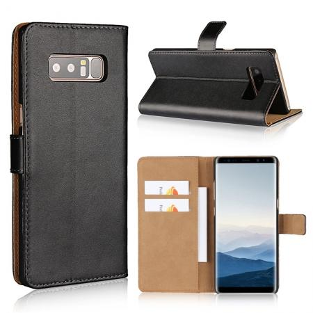 Luxury Genuine Leather Magnetic Flip Wallet Case Stand Cover For Samsung Galaxy Note 8 - Black