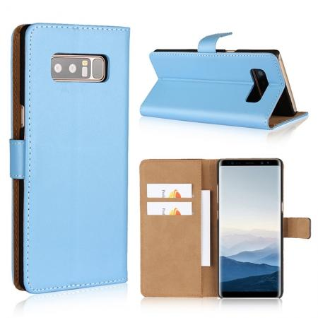 Luxury Genuine Leather Magnetic Flip Wallet Case Stand Cover For Samsung Galaxy Note 8 - Blue