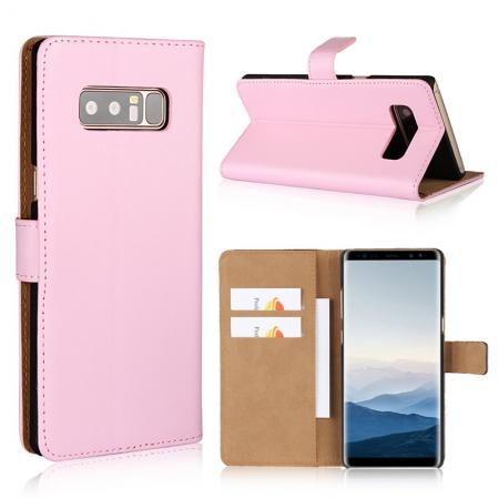 Luxury Genuine Leather Magnetic Flip Wallet Case Stand Cover For Samsung Galaxy Note 8 - Pink