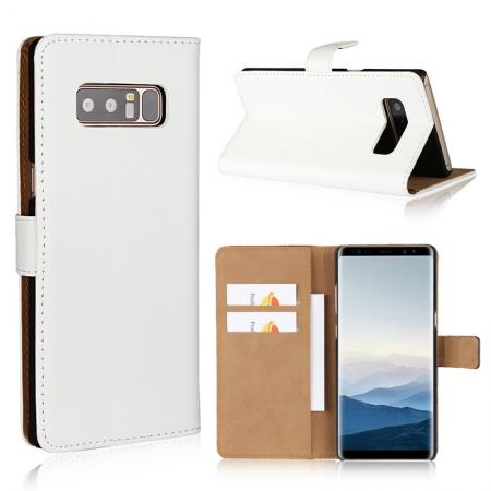 Luxury Genuine Leather Magnetic Flip Wallet Case Stand Cover For Samsung Galaxy Note 8 - White