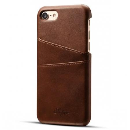 Luxury Leather Coated Plastic Hard Back Case with Card Slots for iPhone 8 Plus 5.5  - Coffee