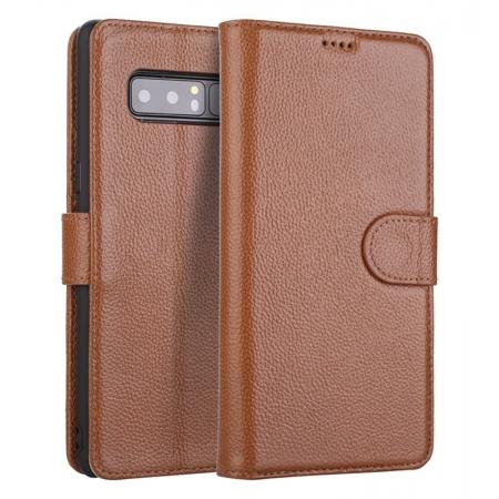 Luxury Litchi Pattern Genuine Leather Flip Case for Samsung Galaxy Note 8 - Brown