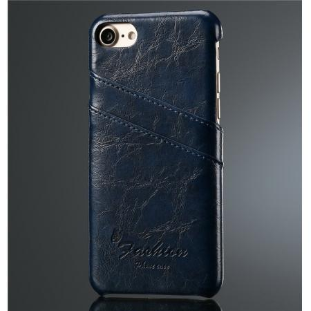 Oil Wax Style Insert Card Leather Back Case Cover for iPhone 8 4.7 inch - Dark Blue