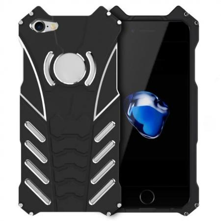 R-Just Aluminum Metal Shockproof Case Cover for iPhone SE 2020 / 8 - Black