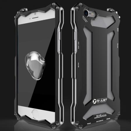 R-JUST Full Aluminum Metal Shockproof Protective Case for iPhone SE 2020 / 8 4.7inch - Black