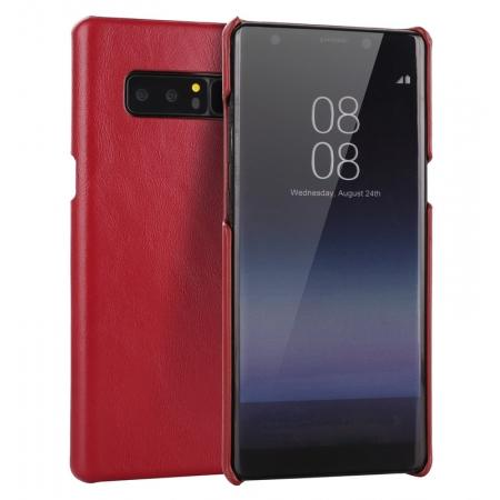 Real Genuine Cow Leather Back Cover Case for Samsung Galaxy Note 8 - Red