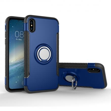 Ring Stand Armor Hybrid Shockproof Protective Cover Phone Case For iPhone X - Dark blue