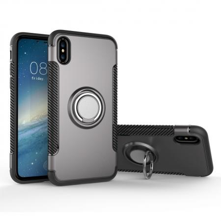 Ring Stand Armor Hybrid Shockproof Protective Cover Phone Case For iPhone X - Gray