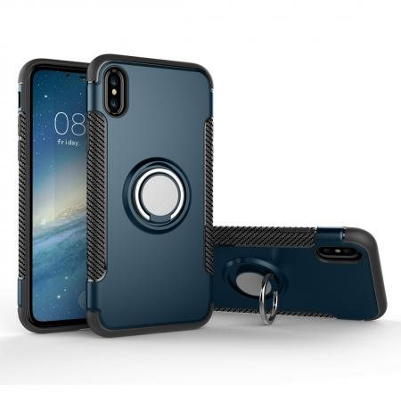 Ring Stand Armor Hybrid Shockproof Protective Cover Phone Case For iPhone X - Navy blue