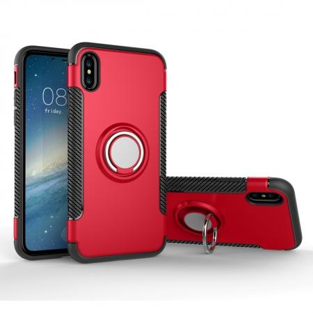 Ring Stand Armor Hybrid Shockproof Protective Cover Phone Case For iPhone X - Red