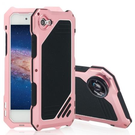 Shockproof Gorilla Glass Flim Metal Case Cover with Camera Lens For iPhone SE 2020 / 8 4.7inch - Rose gold