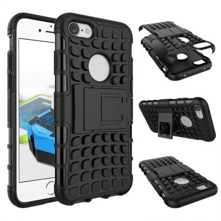 Tough Armor Shockproof Hybrid Dual Layer Kickstand Protective Case for iPhone SE 2020 / 8 4.7inch - Black