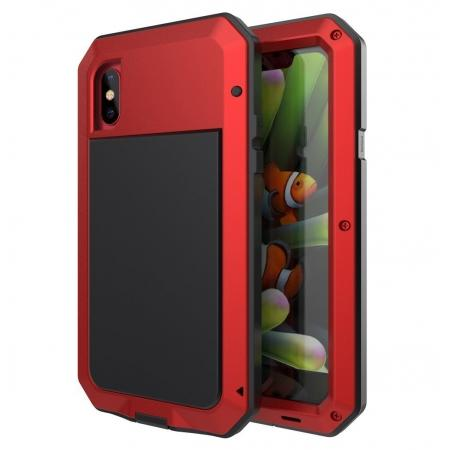 Aluminum Metal Shockproof Waterproof Glass Case Cover for iPhone XS / X - Red