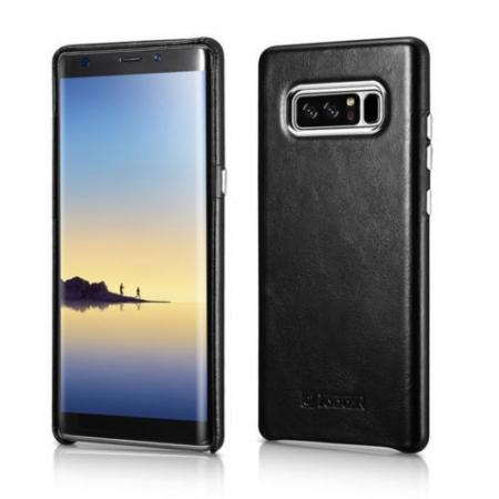 leather phone cases galaxy note 8 snap,ICARER Genuine Real Leather Back Case Cover For Samsung Galaxy Note 8 - Black