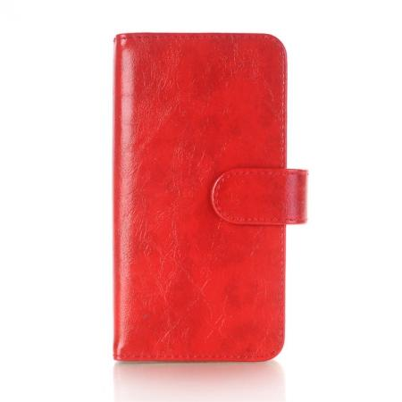 Luxury Crazy Horse Leather Flip Case Wallet With Card Holder for iPhone X - Red