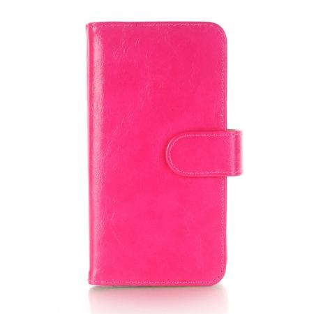 Luxury Crazy Horse Leather Flip Case Wallet With Card Holder for iPhone X - Rose Red