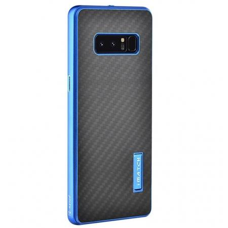 Aluminum Metal Bumper Frame Case+Carbon Fiber Back Cover For Samsung Galaxy Note 8 - Blue&Black