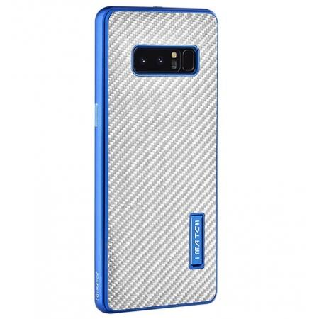 Aluminum Metal Bumper Frame Case+Carbon Fiber Back Cover For Samsung Galaxy Note 8 - Blue&Silver