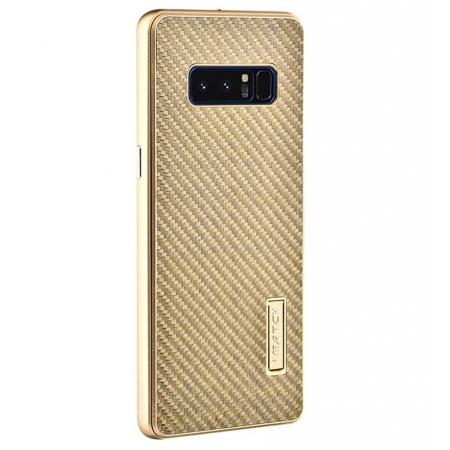 Aluminum Metal Bumper Frame Case+Carbon Fiber Back Cover For Samsung Galaxy Note 8 - Gold&Gold