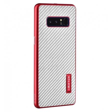Aluminum Metal Bumper Frame Case+Carbon Fiber Back Cover For Samsung Galaxy Note 8 - Red&Silver