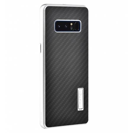 Aluminum Metal Bumper Frame Case+Carbon Fiber Back Cover For Samsung Galaxy Note 8 - Silver&Black