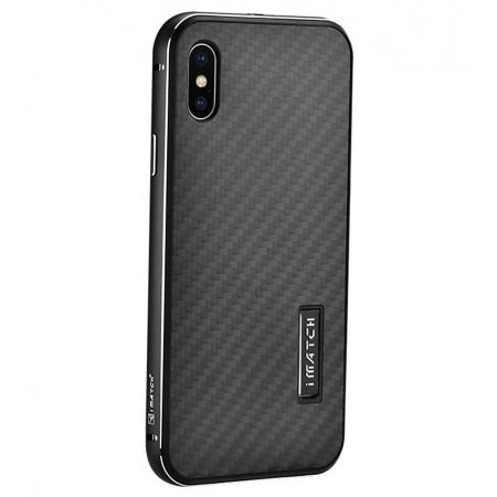 Aluminum Metal Bumper Frame Shockproof Case+Carbon Fiber Back Cover For iPhone XS / X - Black&Black