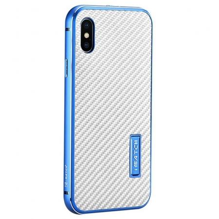 Aluminum Metal Bumper Frame Shockproof Case+Carbon Fiber Back Cover For iPhone XS / X - Blue&Silver