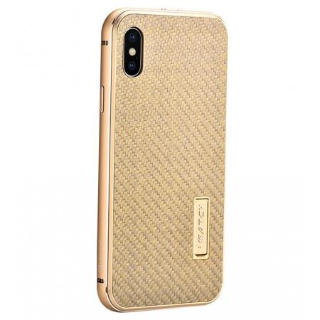 Aluminum Metal Bumper Frame Shockproof Case+Carbon Fiber Back Cover For iPhone XS / X - Gold&Gold