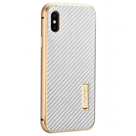 Aluminum Metal Bumper Frame Shockproof Case+Carbon Fiber Back Cover For iPhone XS / X - Gold&Silver