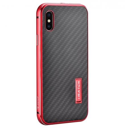 Aluminum Metal Bumper Frame Shockproof Case+Carbon Fiber Back Cover For iPhone XS / X - Red&Black
