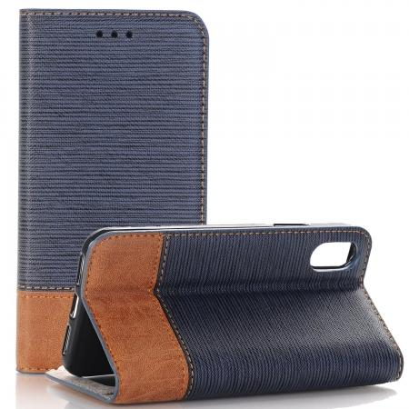 Double Layer Shock Absorbing Premium Soft PU Leather Wallet Flip Case for iPhone X - Dark Blue