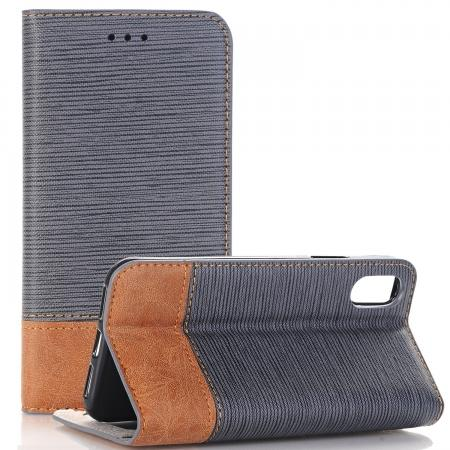 Double Layer Shock Absorbing Premium Soft PU Leather Wallet Flip Case for iPhone X - Gray