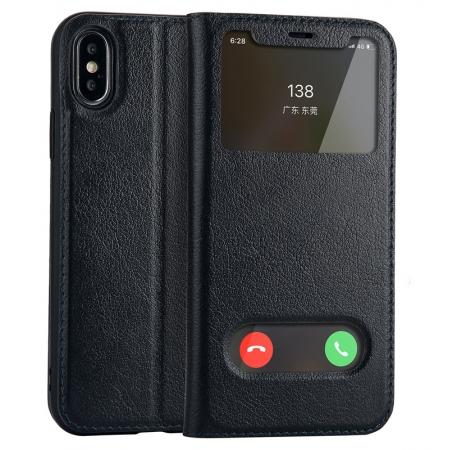 Luxury Genuine Leather Stand Case Dual Window View for iPhone X - Dark Blue