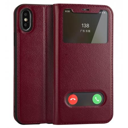 Luxury Genuine Leather Stand Case Dual Window View for iPhone X - Wine Red