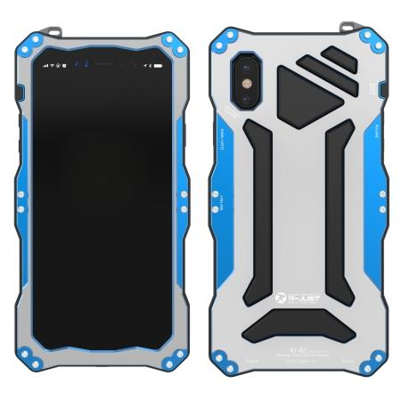R-Just 3-Proof Aluminium Metal Tempered Glass Case for iPhone XS / X - Blue