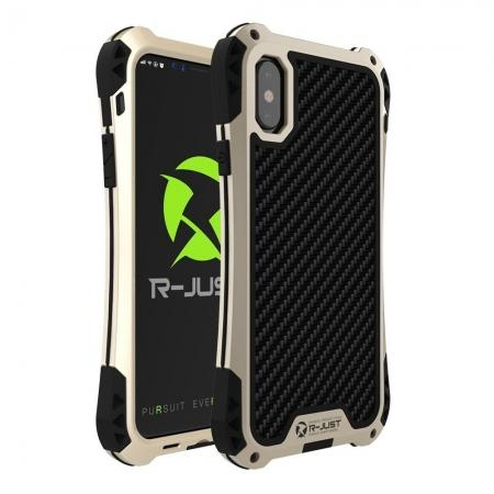 Shockproof DropProof DirtProof Carbon Fiber Metal Gorilla Glass Armor Case for iPhone XS / X - Gold&Black