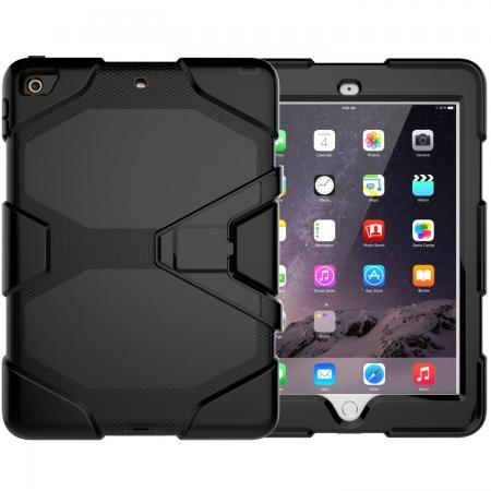 Shockproof Rugged Cover Three Layer Hard PC+Silicone Case For New iPad 9.7Inch 2017 - Black