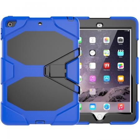 Shockproof Rugged Cover Three Layer Hard PC+Silicone Case For New iPad 9.7Inch 2017 - Blue