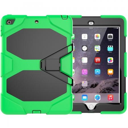 Shockproof Rugged Cover Three Layer Hard PC+Silicone Case For New iPad 9.7Inch 2017 - Green