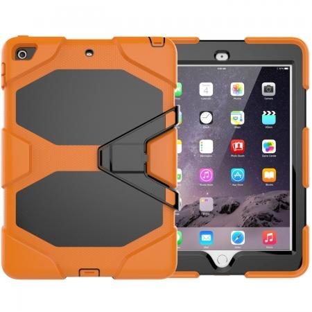 Shockproof Rugged Cover Three Layer Hard PC+Silicone Case For New iPad 9.7Inch 2017 - Orange