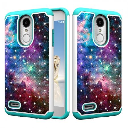 Cute Girls Women Bling Glitter Hybrid Full Body Phone Case Cover For LG Tribute Dynasty / Aristo 2 -  Nebula