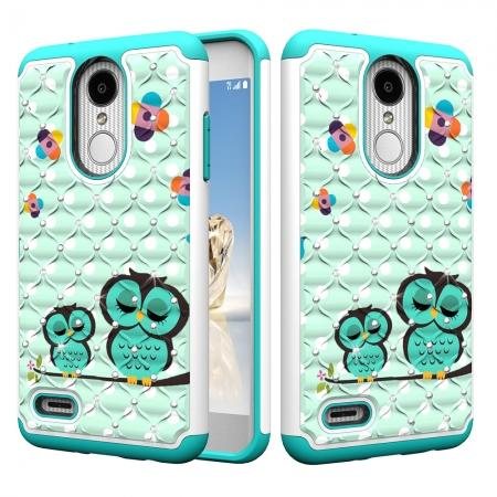 Cute Girls Women Bling Glitter Hybrid Full Body Phone Case Cover For LG Tribute Dynasty / Aristo 2 - Owl