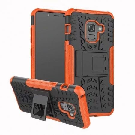 For Samsung Galaxy A8 2018 Case Rugged Armor Protective Cover with Kickstand - Orange
