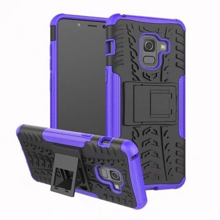 For Samsung Galaxy A8 2018 Case Rugged Armor Protective Cover with Kickstand - Purple