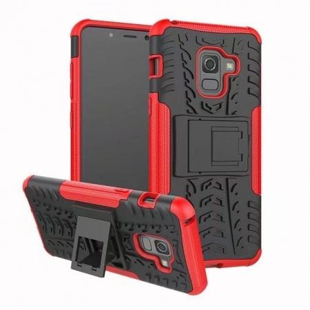 For Samsung Galaxy A8 2018 Case Rugged Armor Protective Cover with Kickstand - Red