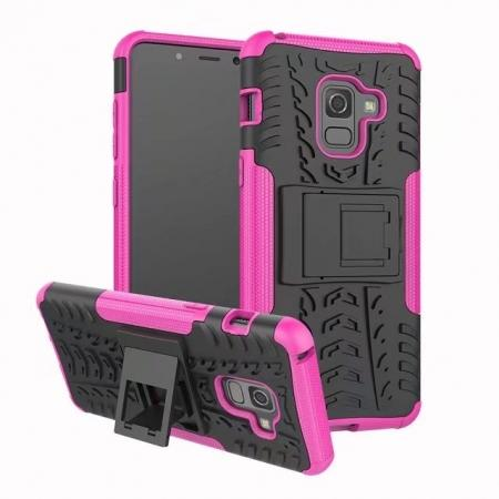 For Samsung Galaxy A8 2018 Case Rugged Armor Protective Cover with Kickstand - Rose