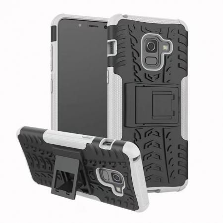 For Samsung Galaxy A8 2018 Case Rugged Armor Protective Cover with Kickstand - White